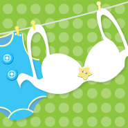 Image of bra and baby clothes