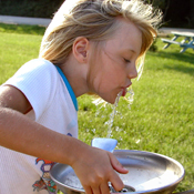 Image of child drinking water from fountain