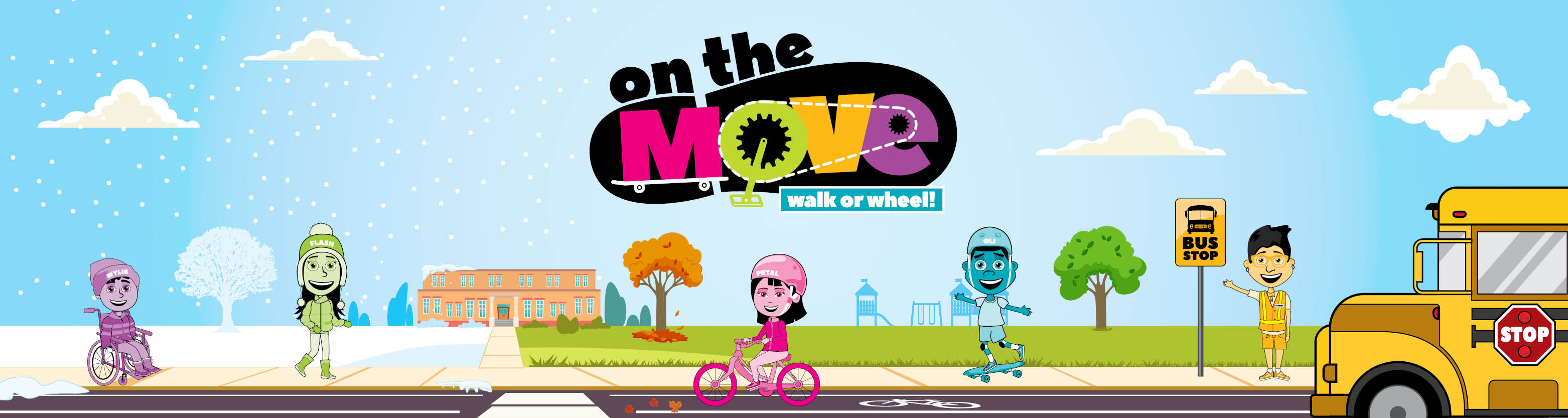 On The Move 3 Season Banner with logo and characters