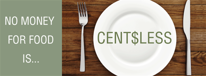 Empty plate with the word centsless.