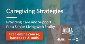 Graphic with multicoloured background of seniors faces that says Caregiving Strategies