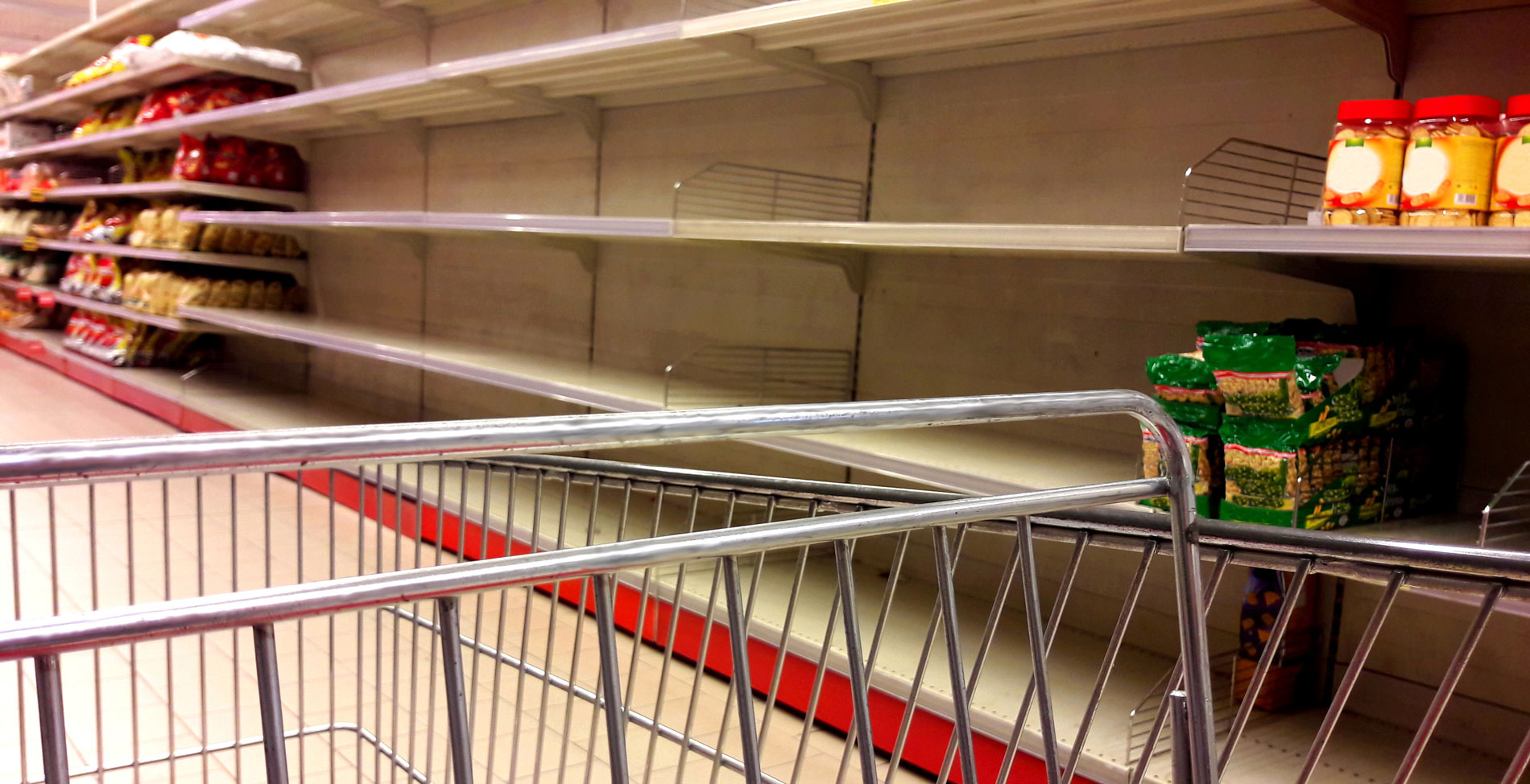 empty food shelves