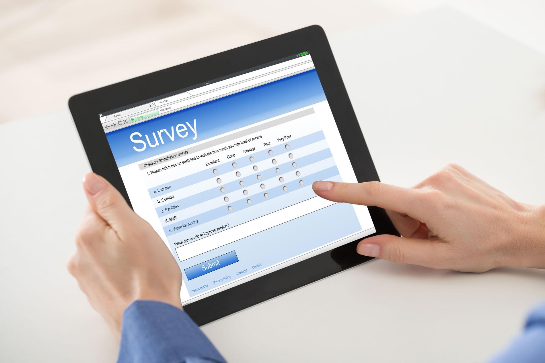 online survey on a tablet